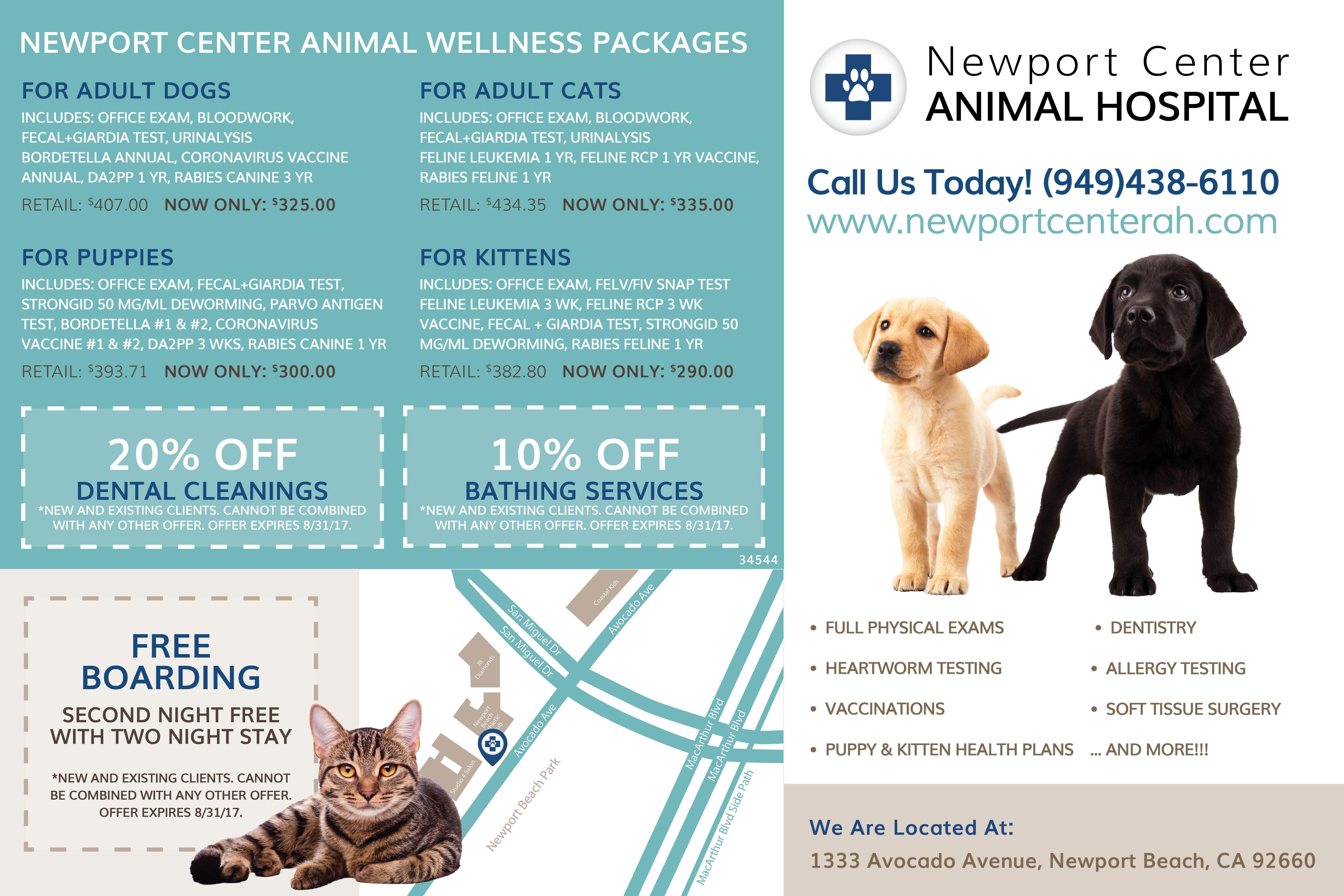 Newport Center Animal Hospital Specials Back   Animal Boarding, Veterinary Care and Hospital in Newport Beach