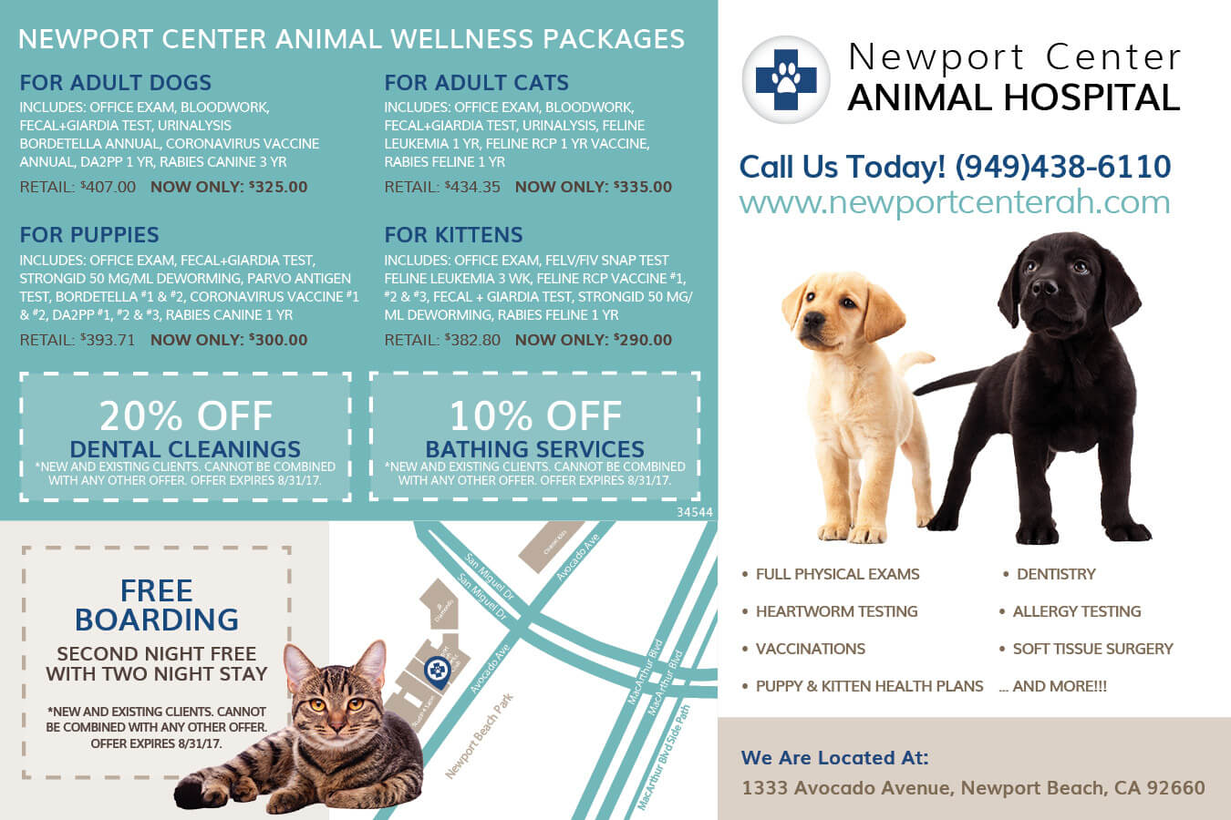 Newport Center Animal Hospital Specials Back | Animal Boarding, Veterinary Care and Hospital in Newport Beach